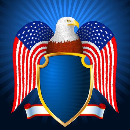 미국의 국기의 형태로 날개를 가진 방패와 대머리 독수리; EPS8 일러스트