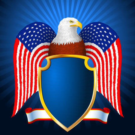Bald eagle with a shield with wings in the form of flag of America; eps8 Vector