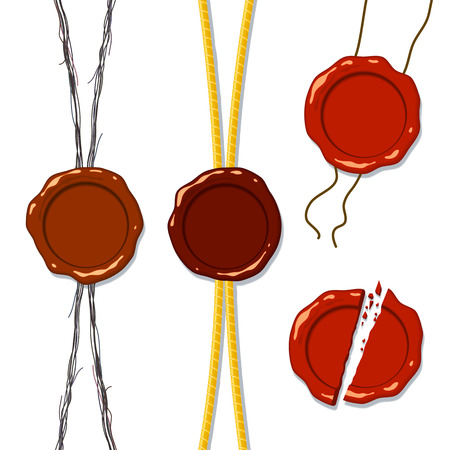 splintered: Wax seal on a rope, a separate whole and splintered into pieces; Eps8