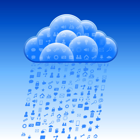 storage: Cloud storage with the rain of the social symbols; Eps10