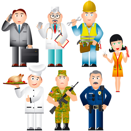 Set of People of various professions  occupations  Çizim