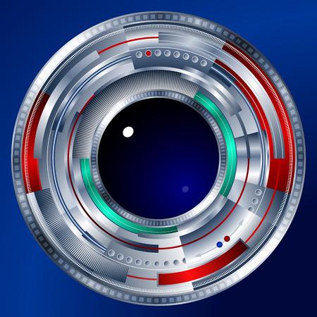 Een abstract cybernetische stalen oog in de vorm van een objectief; Eps8 Stock Illustratie