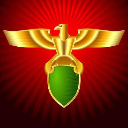 Gold metal eagle with a shield on a background; Eps8 Vector