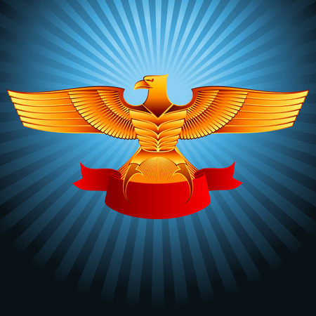 straighten: Gold metal eagle with a ribbon on a background; Eps8 Illustration