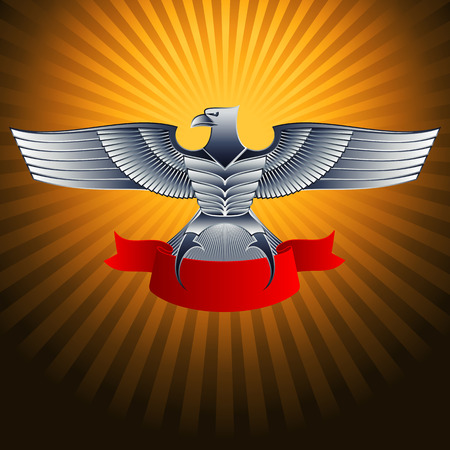 Silver steel metal eagle with a ribbon on a background; Eps8