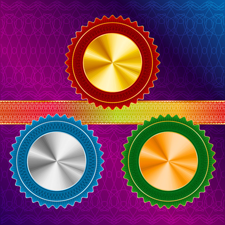 Gold, silver, bronze Medals and Ribbon with a protective pattern-guilloche Vector