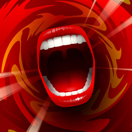 mouth open: Open mouth shouting or singing in red space