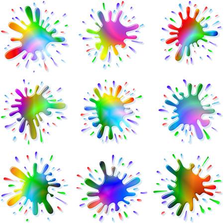 Veelkleurige vlekken en spatten van een verf en inkt, Elke Paint Splash is de enige en unieke Stockfoto - 27898781
