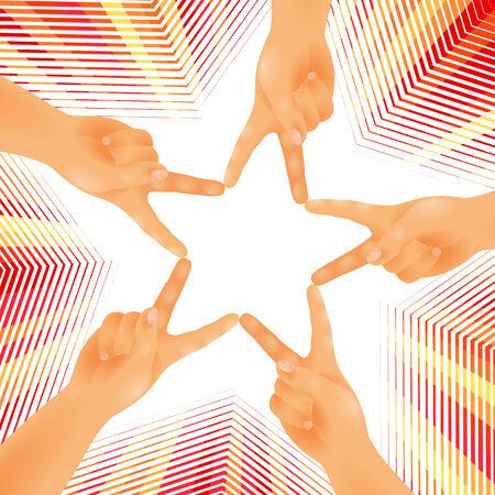 manos unidas: Cinco manos están unidas por los dedos en forma de una estrella