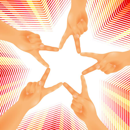 jointly: Five hands are joined by fingers in the form of a star