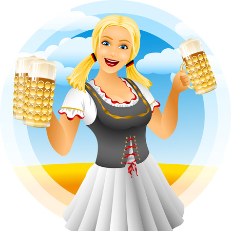 The girl waitress holds glasses with beer on a traditional German holiday of Oktoberfest Vector