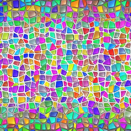 壁の華麗な石;ガウディのマルチカラーのモザイク