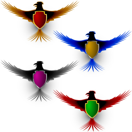 Bird eagle with a shield; Totem; A symbol of pride and honor; Eps8 Vector