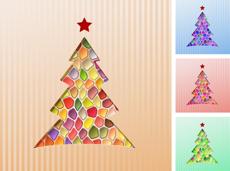 christmas tree cut out of the paper mosaic of colored jewels eps10 stock vector - Jewel Colored Christmas Decorations