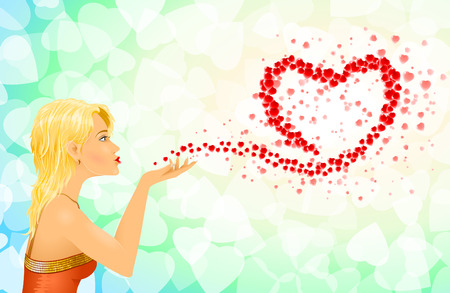 Young girl blowing hearts on Valentine Ilustrace