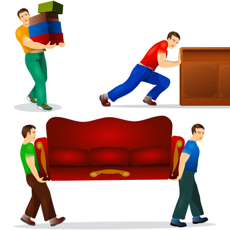 Set of brawny porters; Workers carry furniture and boxes; Eps8