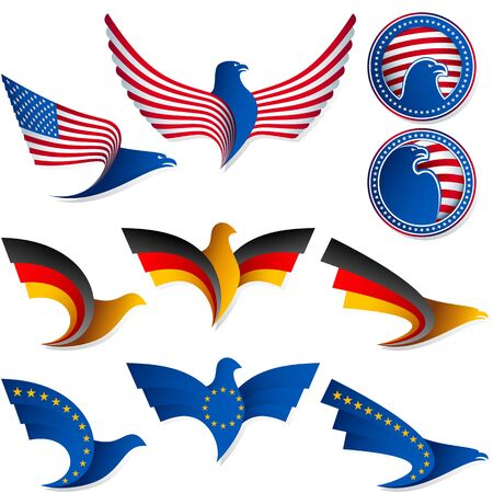 patriotic eagle: Set of emblems from the stylized birds; Wing of an eagle; Wing of a pigeon; Flag of United States, Germany, European Union; Eps8