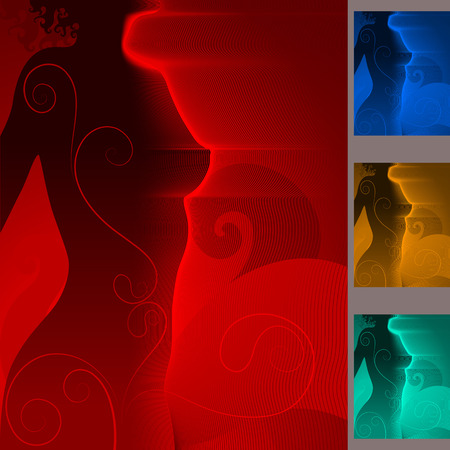 Set of backgrounds with a body of the sexy woman in night light with decorative lines on a body contour, Ilustracja