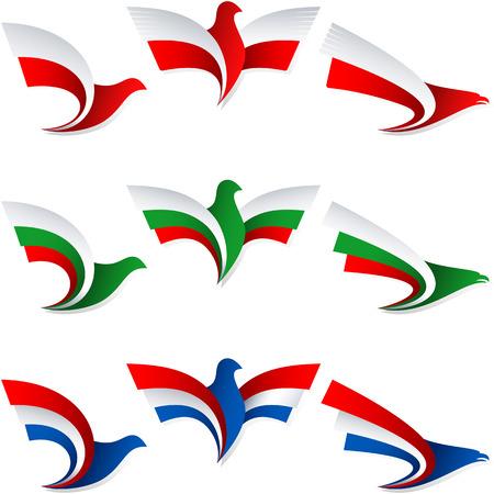 Set van emblemen van de gestileerde vogels, vleugel van een adelaar, vleugel van een duif, Vlag van Polen, Bulgarije, Nederland, Holland,