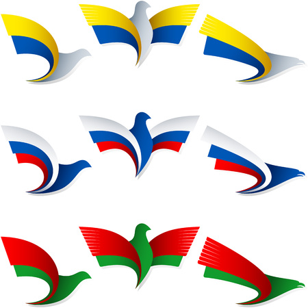 Set of emblems from the stylized birds, Wing of an eagle, Wing of a pigeon, Flag of Ukraine, Russia, Belarus, Belorussia, Ilustração