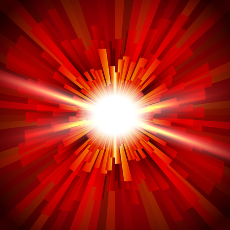 Shining a flash of light in the red tunnel; Abstract background of the fiery explosion and scattering rays; Release of powerful energy; Eps10