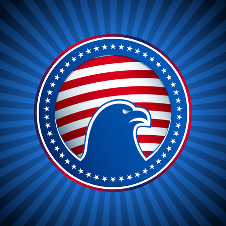 メダル アメリカの白頭鷲星と青い光線の背景にアメリカ国旗のストライプから円を描くように様式化されたアメリカの国民記号