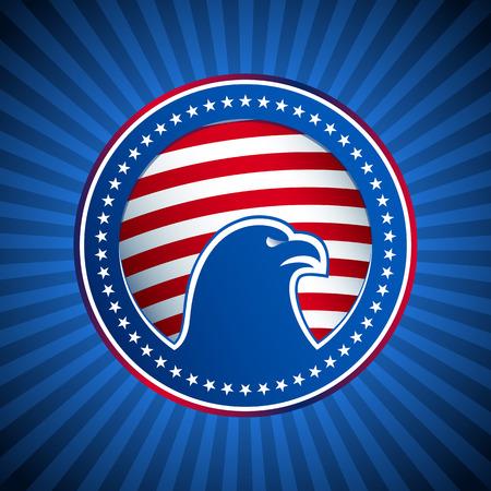 Medaglia dalle American Eagle a stelle e strisce della bandiera degli Stati Uniti calvo sullo sfondo dei raggi blu I simboli nazionali dell'America stilizzata in una forma circolare Archivio Fotografico - 39575598
