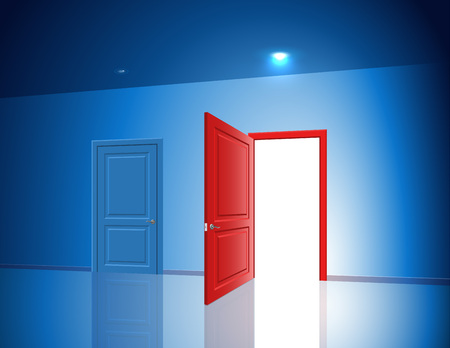 rightly: The light through the open door The choice between the two doors options exits The complexity of the selection and decisionmaking