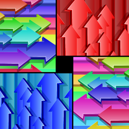 proportional: Set of multicolored backgrounds of flying threedimensional arrows The size of each background is proportional to the size of Letterformat Eps10