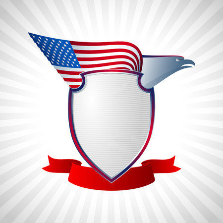 eagle flying: The eagle with a wing of the American flag Shield and solemn ribbon The national symbol of America For the National Day of Independence on July 4 Grey Version Eps8