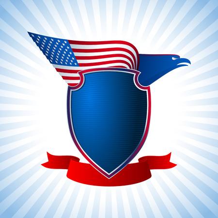 アメリカ人の翼を持つワシのフラグのシールドと厳粛なリボン アメリカのための国家独立記念日の国の象徴 7 月 4 日青バージョン Eps8