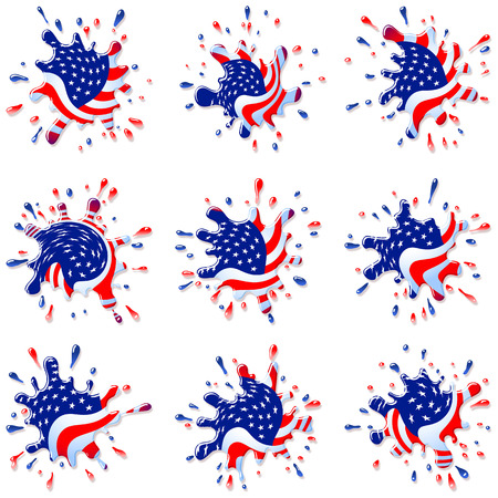 disperse: Blots and splashes from the national Flag of America For the National Day of Independence on July 4 Eps10