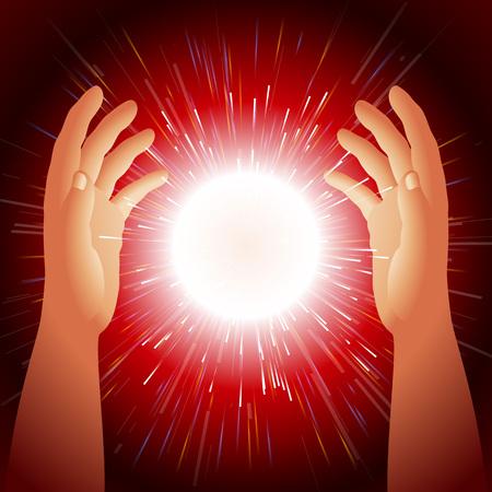 Energie bal in de handen Magic licht gecreëerd door de handen tovenaar Thunderball wordt gehouden tussen de palmen