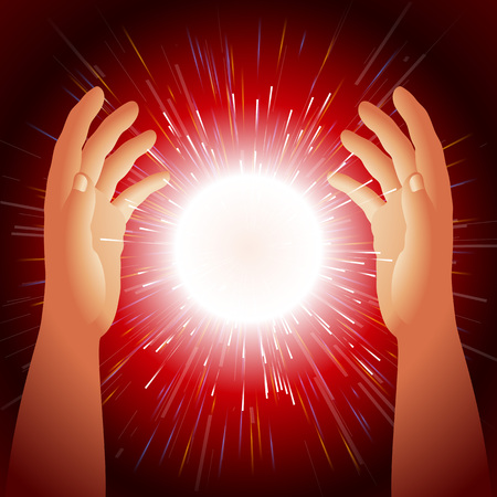 pseudoscience: Energy ball in hands Magic light created by hands sorcerer Thunderball is held between the palms