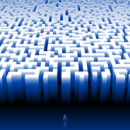 Man enters into a giant maze Find your way Make the right decision Eps8 Ilustrace