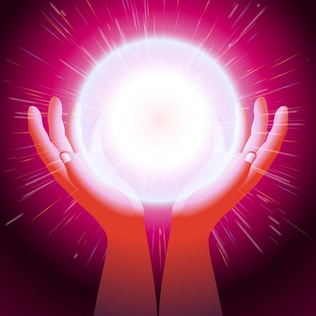サンダーは Eps10 の手のひらの間開催された手の魔術師による魔法光を作成の手でエネルギー ボール  イラスト・ベクター素材