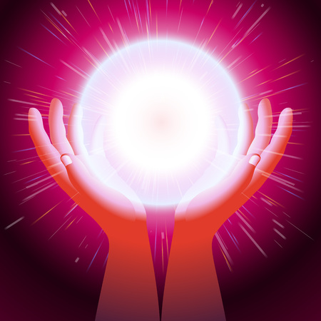 pseudoscience: Energy ball in hands Magic light created by hands sorcerer Thunderball is held between the palms Eps10 Illustration