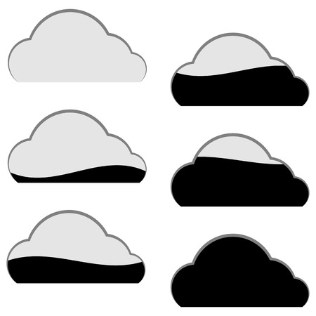 Icons of cloud computing storage in black and white colors; Eps8