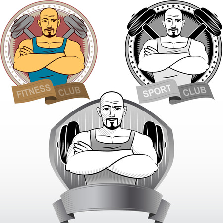 The athlete holds muscular arms across chest; Emblem for sports clubs; Hand-drawing image style; Eps8 Illustration