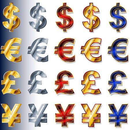 米ドル、ユーロ、ポンド、円の通貨の通貨記号のベクター アイコン