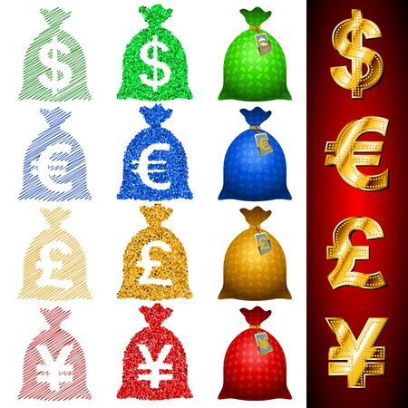 knotted rope: Vector icons of currency money bags, sacks, Sign of USD, EUR, GBP, JPY