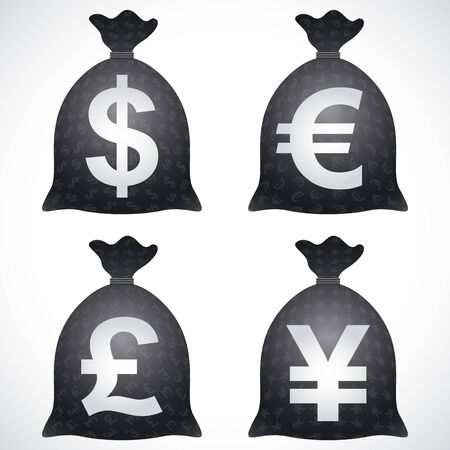moneybag: Vector icons of currency money bags, sacks, Sign of USD, EUR, GBP, JPY