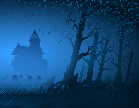 Hut with a cemetery in the night forest during Halloween; Eps10