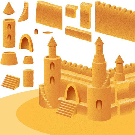 castle sand: Conjunto de elementos para la construcci�n de castillos de arena; Eps8 Vectores