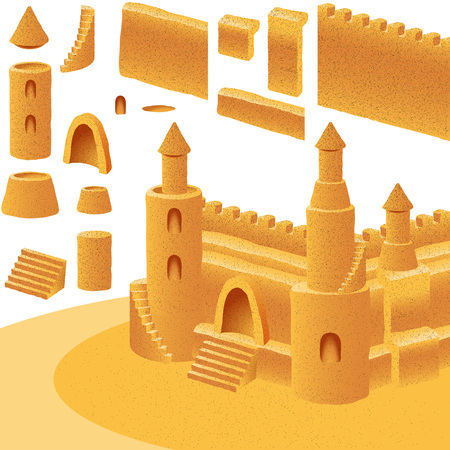 sandcastle: Set of elements for building sand castle; Eps8 Illustration