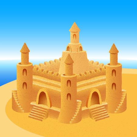 Sand castle on a sea summer beach; Eps8 Ilustração Vetorial
