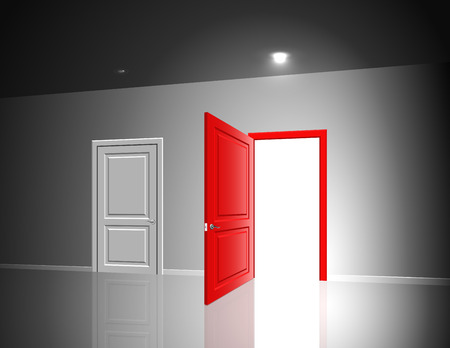 suspense: Light in a room through the open door; The choice between the two exits; Eps10
