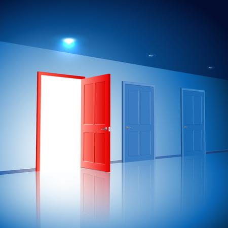 Light in a room through the open door; The choice between the three variants; Version with the left door; Eps10