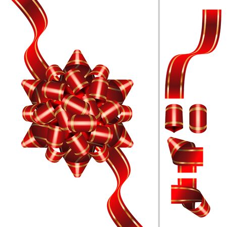 pompous: Red Bow-knot of solemn festive ribbon with curls and curves twists; Set of component element