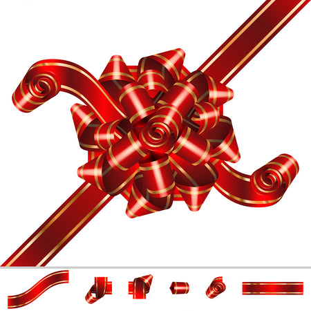 pompous: Red Bow-knot of solemn festive ribbon with curls and curves twists; Set of component elements